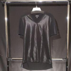 Barneys New York V-Neck Mesh Short Sleeve Shirt